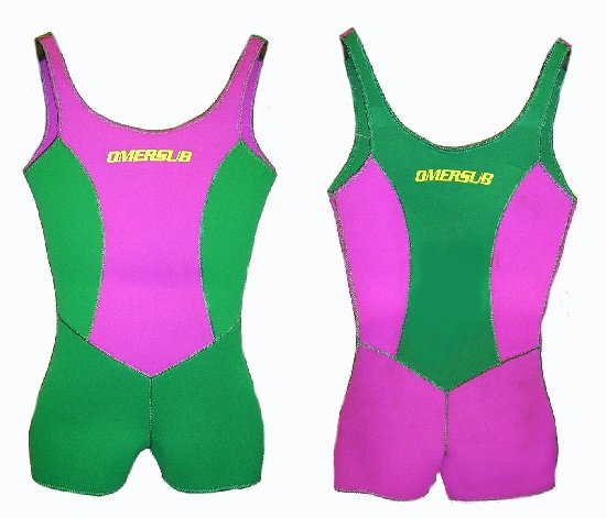 Monopezzo Shorty Donna 3.0 mm SIRENS c/Bretelle verde/fuxia Tg. II